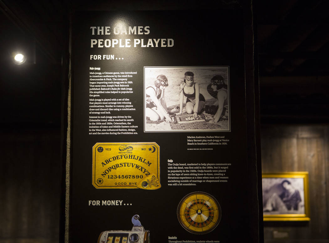 Informational displays in the speakeasy at The Underground at The Mob Museum in downtown Las Vegas on Saturday, April 14, 2018. The basement-level exhibition of the Prohibition era features a work ...