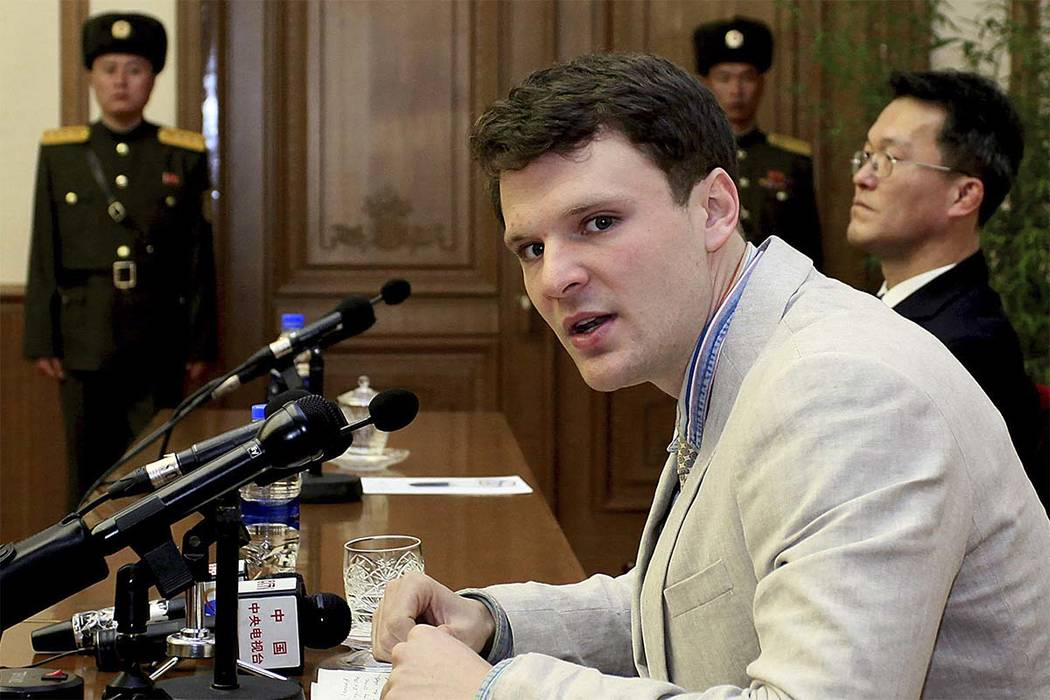 American student Otto Warmbier speaks as he is presented to reporters in Pyongyang, North Korea, Feb. 29, 2016. More than 15 months after he gave a staged confession, Warmbier was returned to the ...
