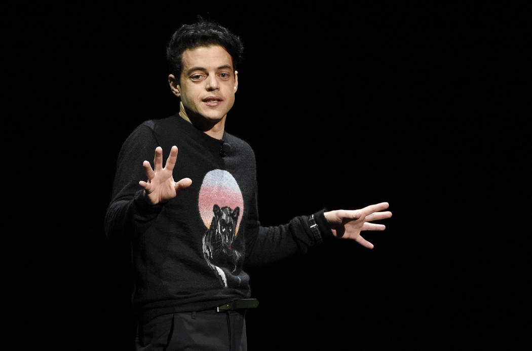 "Rami Malek, who plays the late Queen singer Freddy Mercury in the upcoming film ""Bohemian Rhapsody,"" discusses the film during the 20th Century Fox presentation at CinemaCon 2018, the of ..."