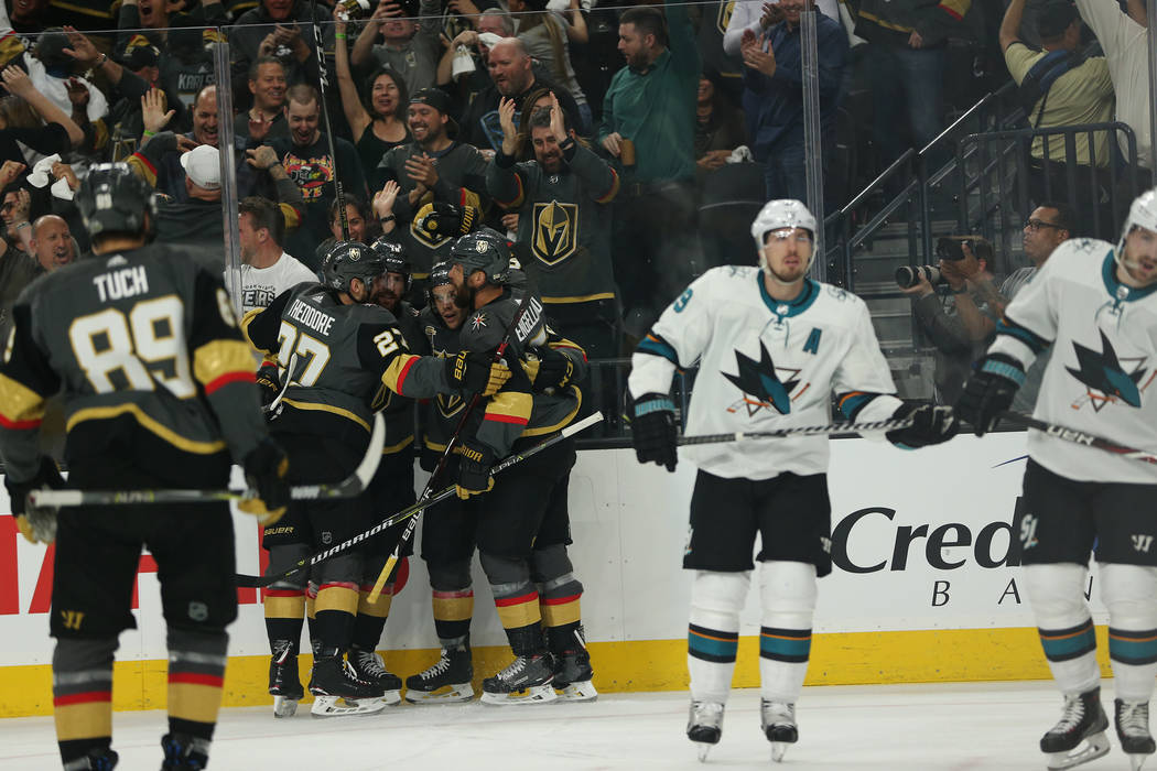 Vegas Golden Knights celebrates a score by left wing Erik Haula (56) go in for a score during the first period in Game 1 of an NHL hockey second-round playoff series at T-Mobile Arena in Las Vegas ...