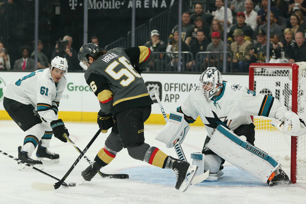 Vegas Golden Knights left wing Erik Haula (56) attempt a shot against San Jose Sharks during the first period in Game 1 of an NHL hockey second-round playoff series at T-Mobile Arena in Las Vegas ...
