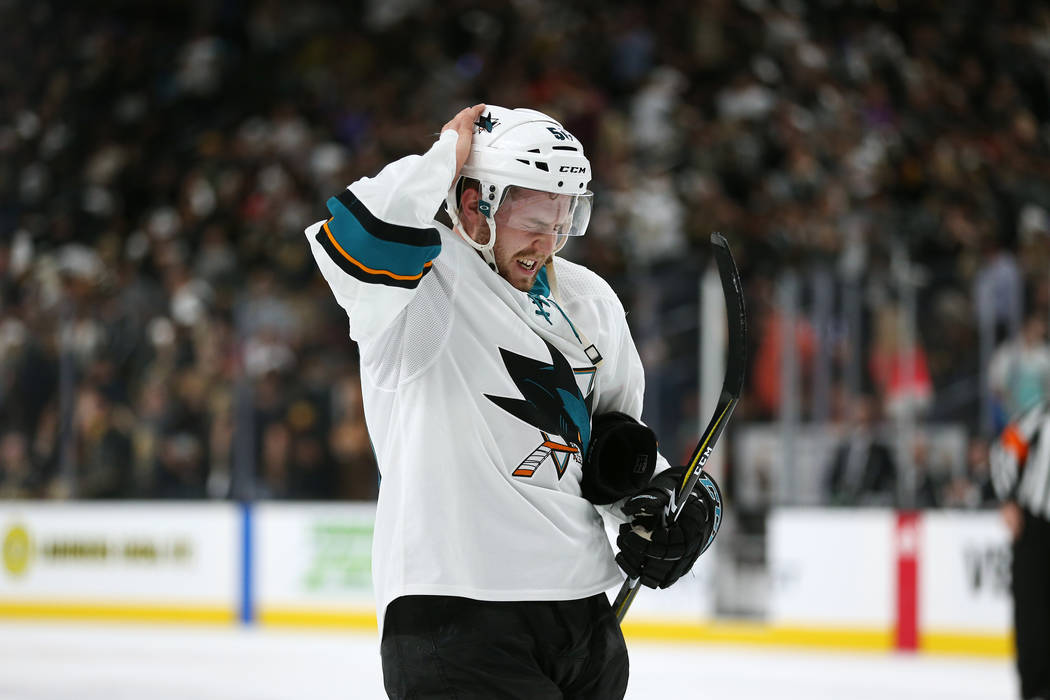 San Jose Sharks center Chris Tierney (50) at the end of the first period in Game 1 of an NHL hockey second-round playoff series at T-Mobile Arena in Las Vegas in Las Vegas, Thursday, April 26, 201 ...