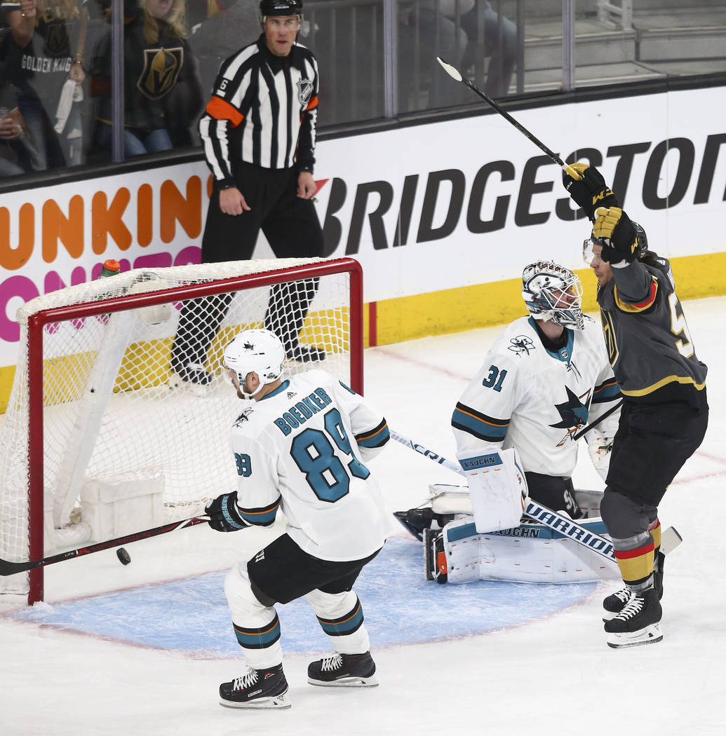 Golden Knights left wing Erik Haula (56) celebrates his goal against the San Jose Sharks during the first period of Game 1 of an NHL hockey second-round playoff series at T-Mobile Arena in Las Veg ...