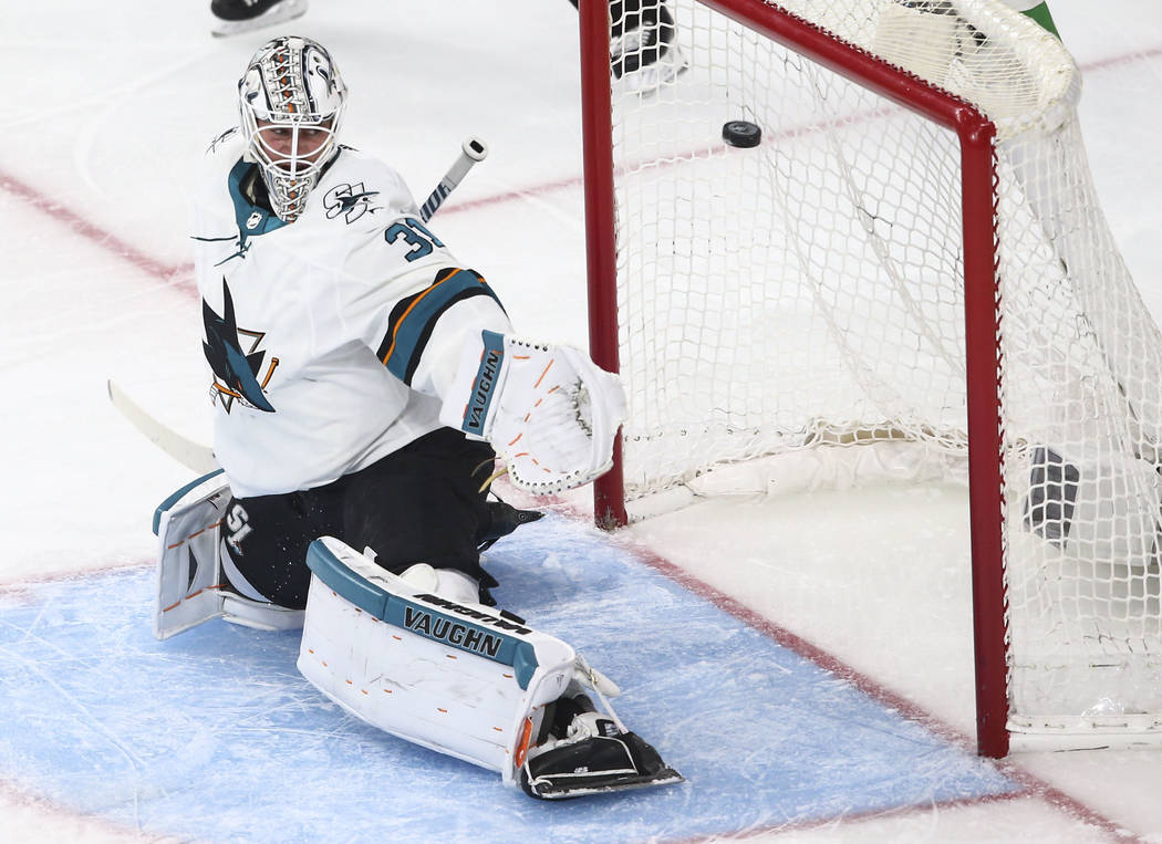 San Jose Sharks goaltender Martin Jones (31) gets scored on by Golden Knights defenseman Shea Theodore, not pictured, during the second period of Game 1 of an NHL hockey second-round playoff serie ...