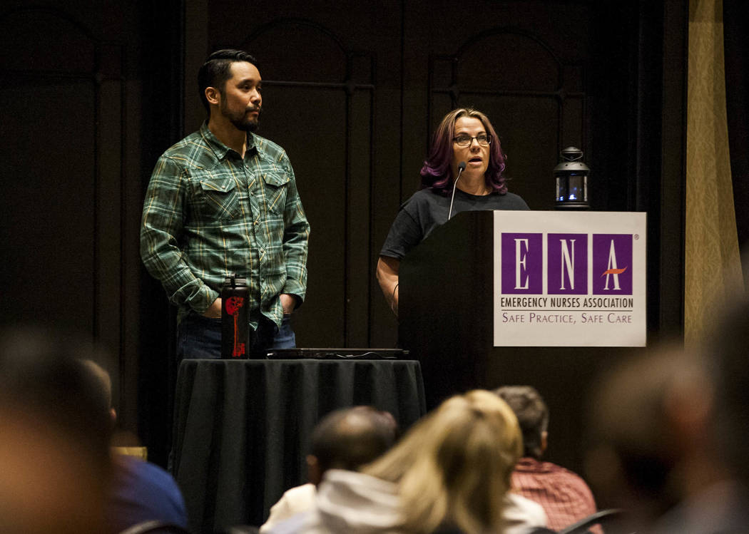 Nurse Debbie Bowerman talks about her experiences at Sunrise Hospital during the night of Oct. 1 with Dr. Kevin Menes at the Emergency Nurses Association regional symposium at Planet Hollywood on ...