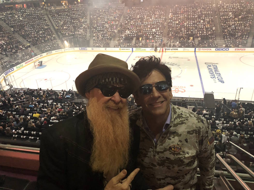 Billy Gibbons of ZZ Top and TV producer Marklen Kennedy are shown before the Vegas Golden Knights-San Jose Sharks Stanley Cup playoff game at T-Mobile Arena on Thursday, April 26, 2018. (John Kats ...
