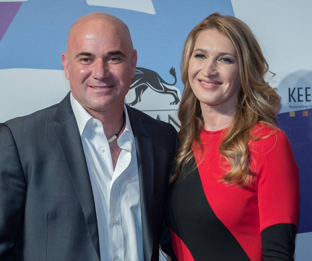 """Andre Agassi and Stefanie Graff arrive at the Keep Memory Alive """"Power of Love Gala"""" at MGM Grand Garden Arena on Thursday, April 27, 2017, in Las Vegas. (Tom Donoghue)"""