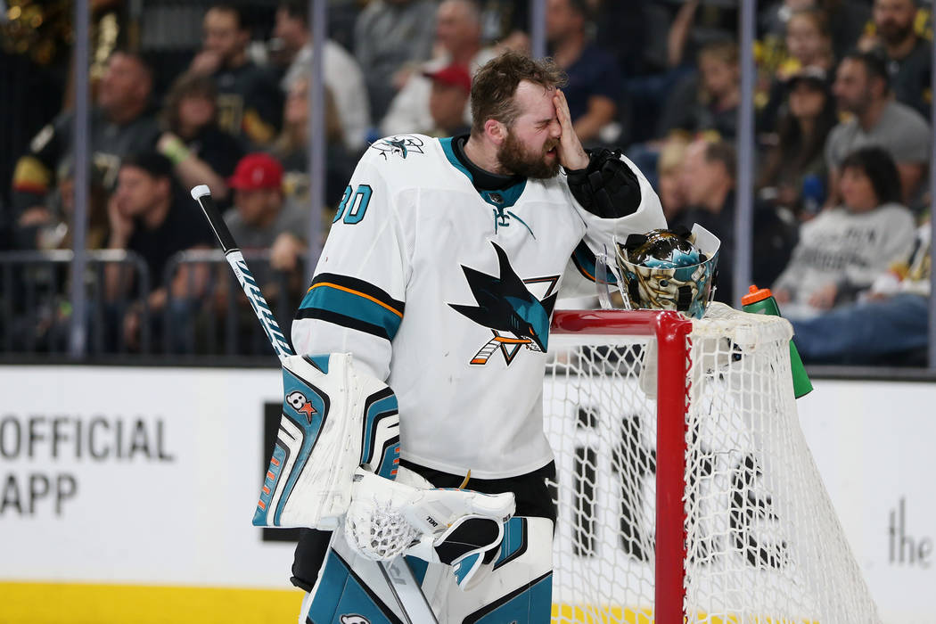 San Jose Sharks goaltender Aaron Dell (30) during a third period break in Game 1 of an NHL hockey second-round playoff series at T-Mobile Arena in Las Vegas in Las Vegas, Thursday, April 26, 2018. ...