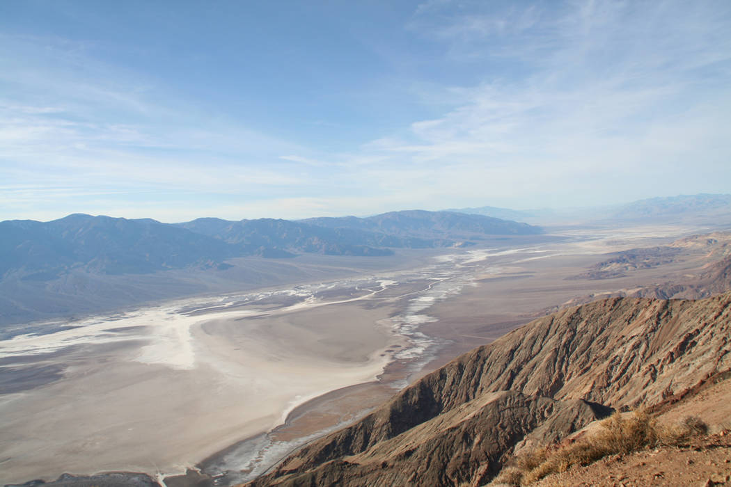 Dantes View in Death Valley National Park, Calif., features a bird's-eye view of Badwater Basin below. The popular overlook is closed for renovations through May. (Charlotte Wall/Special to View)