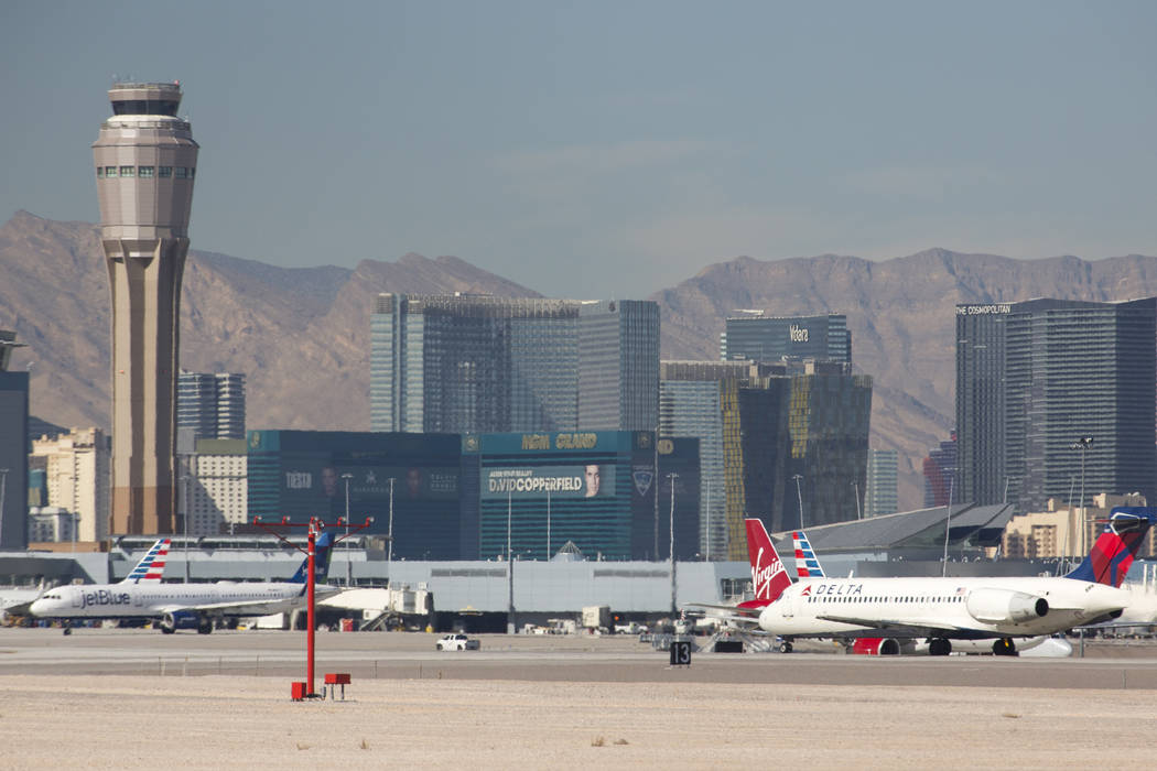 Commercial airliners on the tarmac at McCarran International Airport in Las Vegas on Monday, Jan. 22, 2018. Richard Brian Las Vegas Review-Journal @vegasphotograph