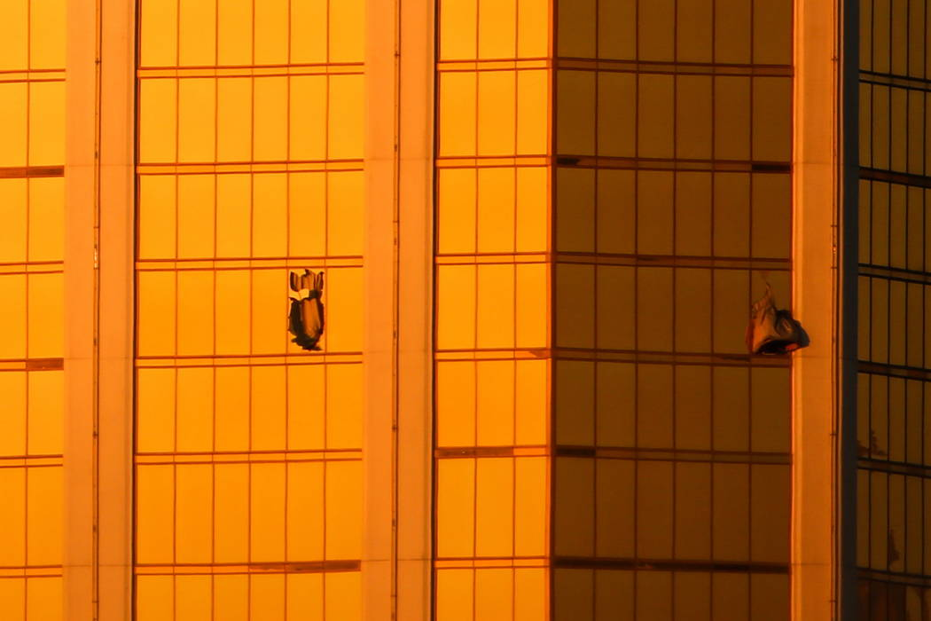 Windows at Mandalay Bay in Las Vegas are broken Monday. Oct. 2, 2017, after a shooting on the Strip left 58 dead and over 700 injured. Joel Angel Juarez Las Vegas Review-Journal @jajuarezphoto