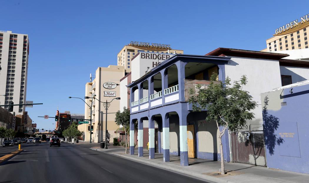 A sidewalk overhang on a building at 307 S. Main St. near East Bridger Avenue in downtown Las Vegas Friday, April 27, 2018. K.M. Cannon Las Vegas Review-Journal @KMCannonPhoto