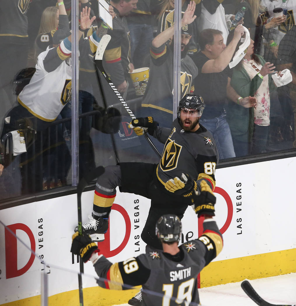 Golden Knights right wing Alex Tuch (89) celebrates his goal against the San Jose Sharks during the first period of Game 1 of an NHL hockey second-round playoff series at T-Mobile Arena in Las Veg ...