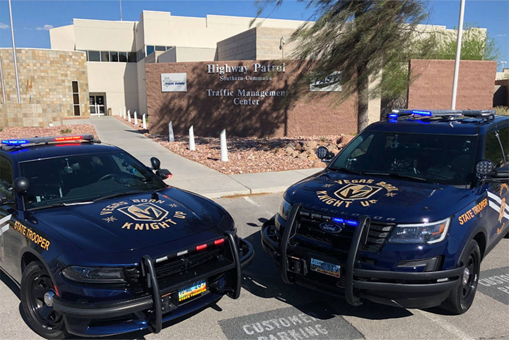 The Nevada Highway Patrol has replaced the Battle Born logo on the public information officer vehicles with a Vegas Golden Knights image. (Nevada Highway Patrol)