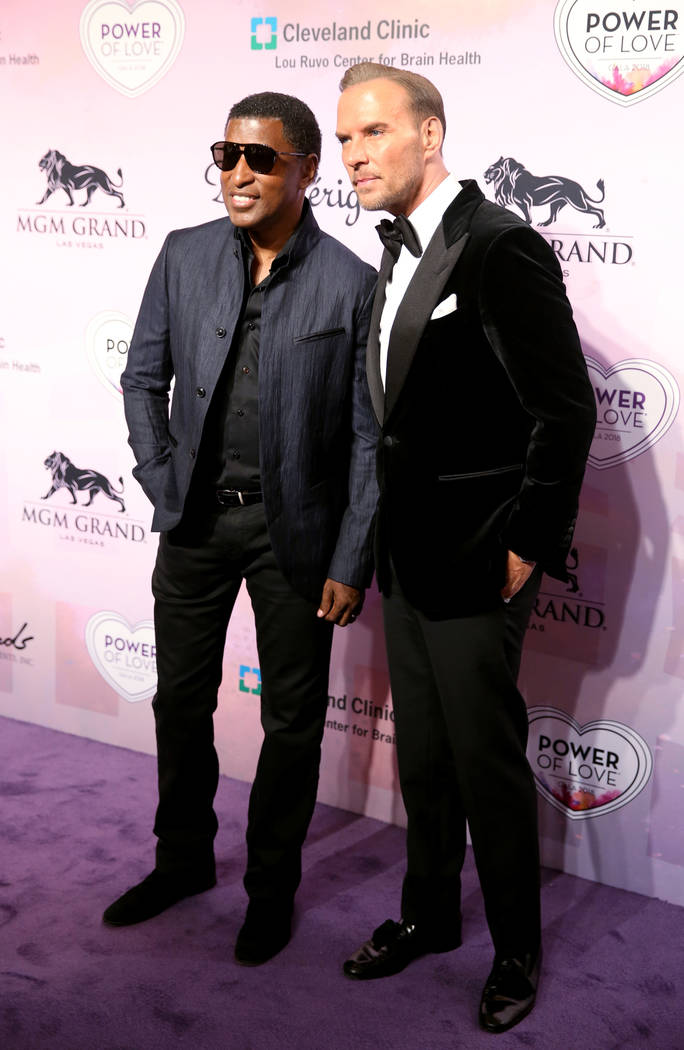 """Songwriter and vocalist Kenny """"Babyface"""" Edmonds, left, and singer-songwriter Matt Goss on the purple carpet at the 22nd annual Power of Love gala in the MGM Grand Garden Arena in Las Ve ..."""