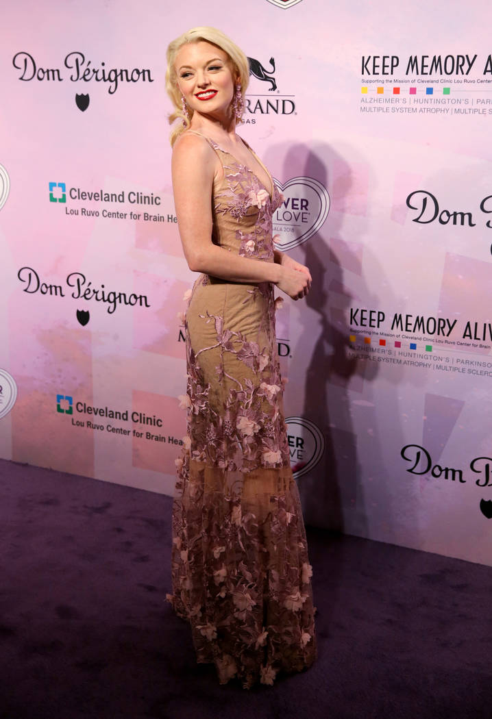 """Ruby Lewis of the upcoming show """"Marilyn! The New Musical"""" at Paris Las Vegas on the purple carpet at the 22nd annual Power of Love gala in the MGM Grand Garden Arena in Las Vegas Saturd ..."""