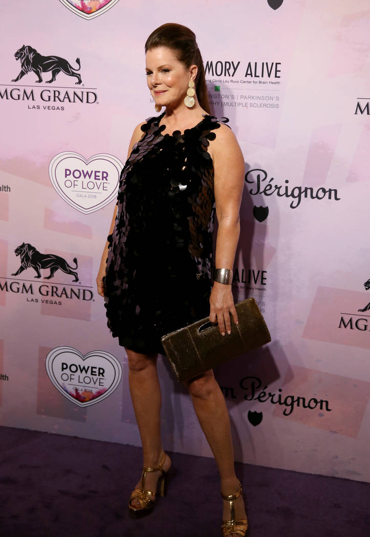 Actress and author Marcia Gay Harden on the purple carpet at the 22nd annual Power of Love gala in the MGM Grand Garden Arena in Las Vegas Saturday, April 28, 2018. The event benefits the Clevelan ...