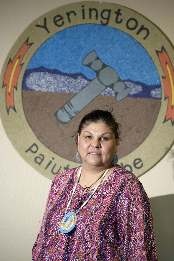 Yerington Paiute Tribal Chairman Laurie Thom poses in the tribal office in Yerington on Friday. (AP Photo/Scott Sady)