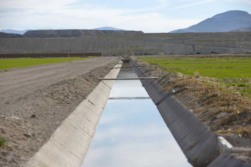 Irrigation ditches and crop fields located above the toxic plume of contaminated groundwater spreading from the former Anaconda copper mine site near Yearington in 2009. (AP Photo/Scott Sady, File)
