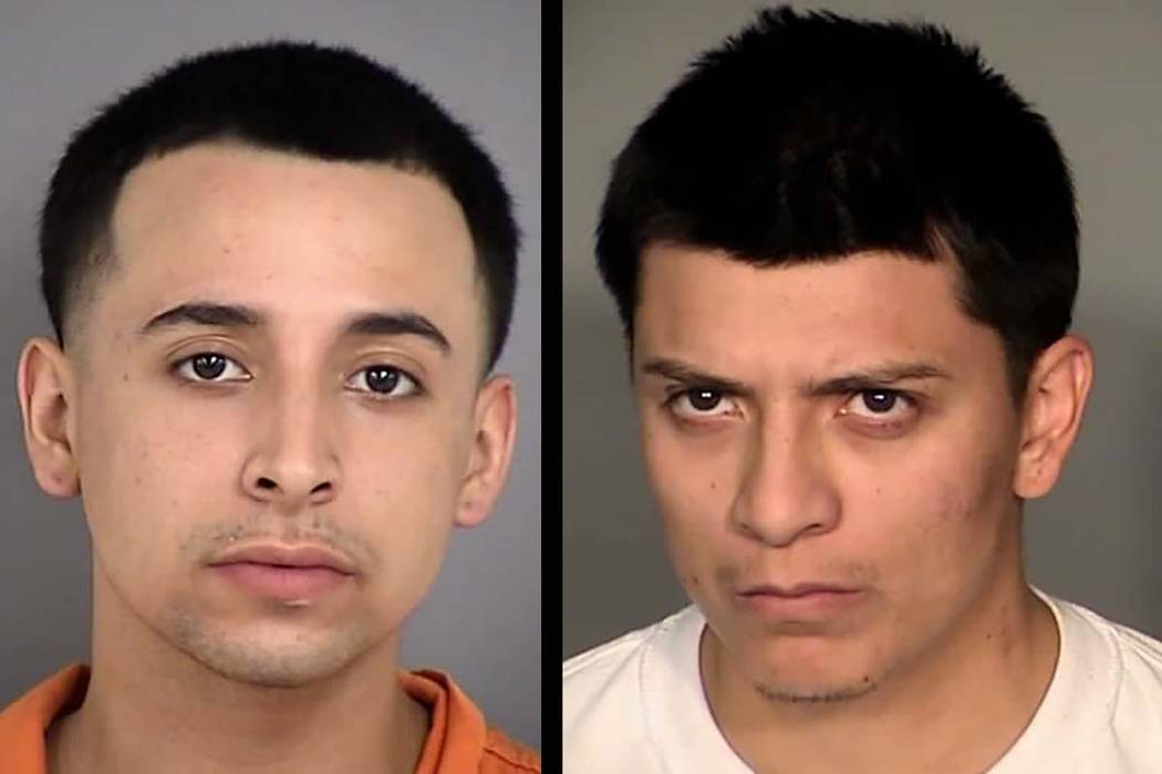 Fernando Corales, 19, left, and Hugo Lopez, 27, have been booked into the Las Vegas City Detention Center. They face charges related to a shooting death on Sunday night in the 2000 block of East T ...