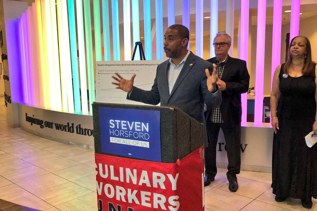 Former U.S. Rep. Steven Horsford speaks at a news conference Monday, April 30, 2018, to roll out his proposed Affordable Prescription Plan, which would increase access to generic drugs and hold ph ...