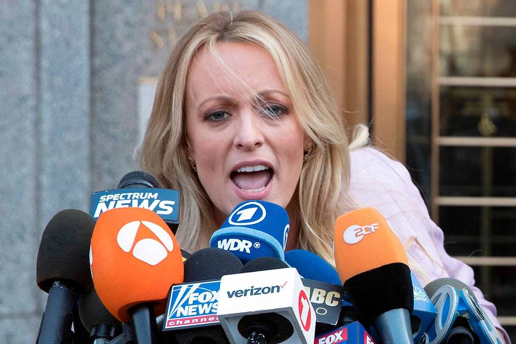 Adult film actress Stormy Daniels speaks outside federal court in New York on April 16. Daniels filed a defamation complaint in federal court in New York on Monday. At issue is a tweet Trump made ...