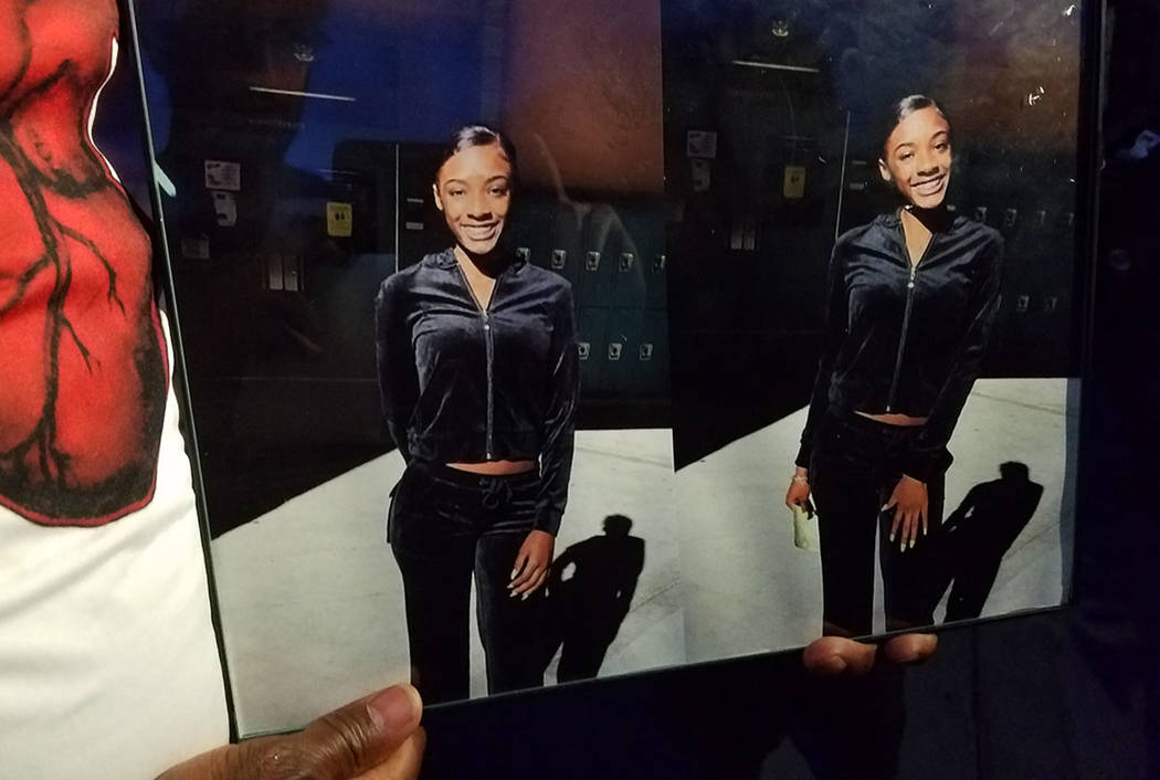 A photo of Justise Allen, 16, is displayed Saturday, April 28, at a memorial held at the scene of her fatal shooting. (Mike Shoro/Las Vegas Review-Journal)