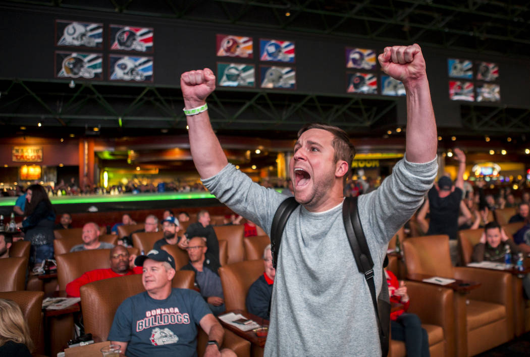 Jordan Johnson of Orlando, Fla., reacts after the Rhode Island Rams defeated the Oklahoma Sooners 83-78 at the Superbook at Westgate in Las Vegas on Thursday, March 15, 2018. Patrick Connoll ...