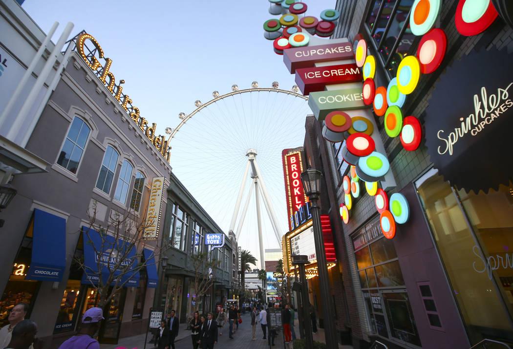 The High Roller rises above the Linq in Las Vegas on Wednesday, Jan. 31, 2018. Chase Stevens Las Vegas Review-Journal @csstevensphoto