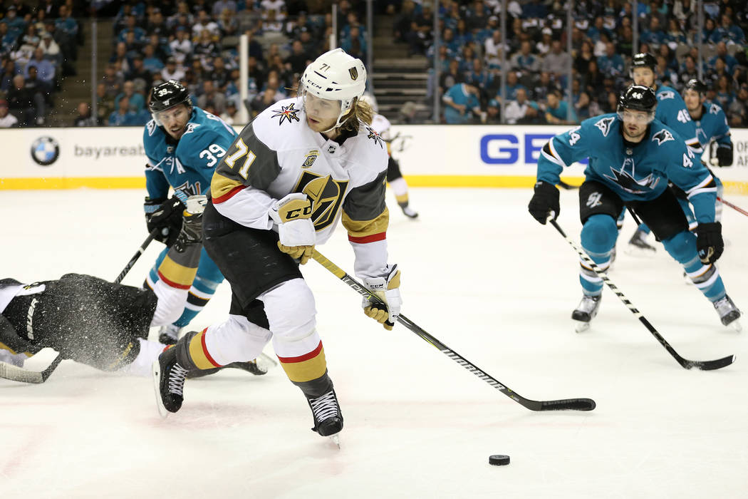 Vegas Golden Knights center William Karlsson (71) looks for an open pass against San Jose Sharks during the first period in Game 3 of an NHL hockey second-round playoff series at the SAP Center in ...
