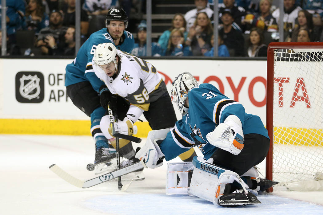 Vegas Golden Knights left wing Erik Haula (56) looks to make a play against San Jose Sharks goaltender Martin Jones (31) during the first period in Game 3 of an NHL hockey second-round playoff ser ...