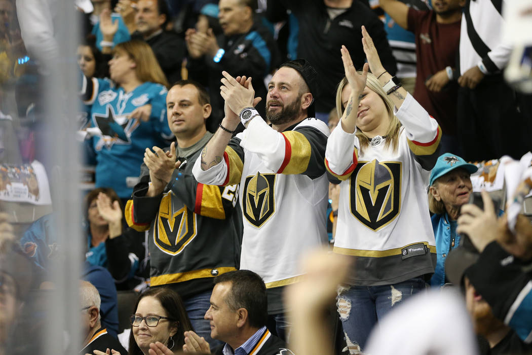 Vegas Golden Knights fans cheer during the first period against San Jose Sharks in Game 3 of an NHL hockey second-round playoff series at the SAP Center in San Jose, Calif, Monday, April 30, 2018. ...