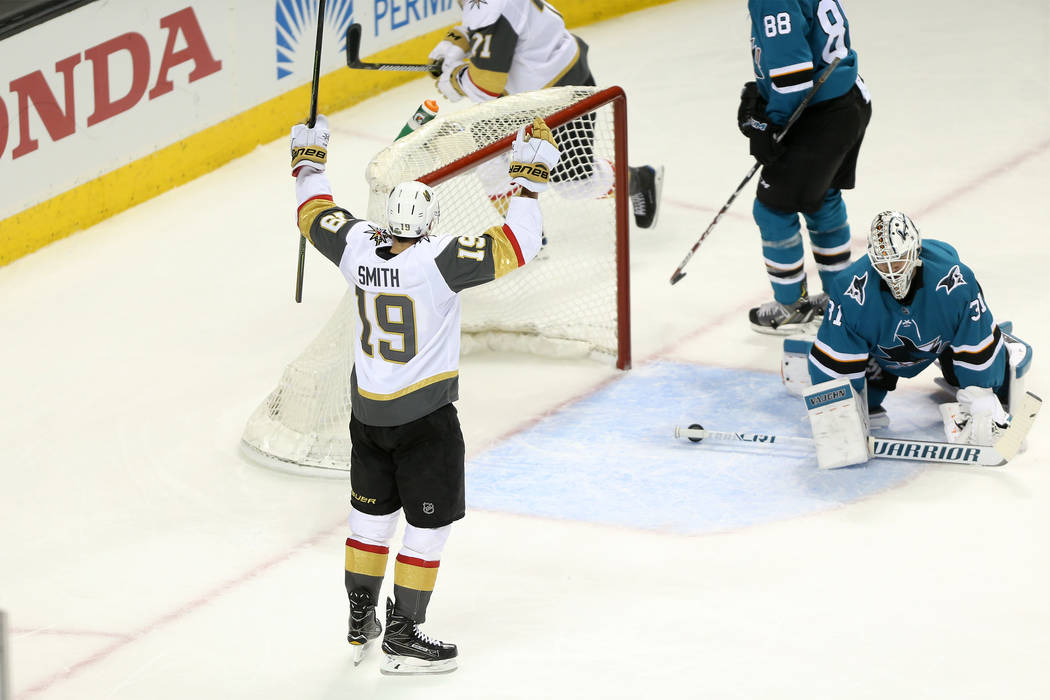 Vegas Golden Knights right wing Reilly Smith (19) celebrates after a score against the San Jose Sharks during the second period in Game 3 of an NHL hockey second-round playoff series at the SAP Ce ...