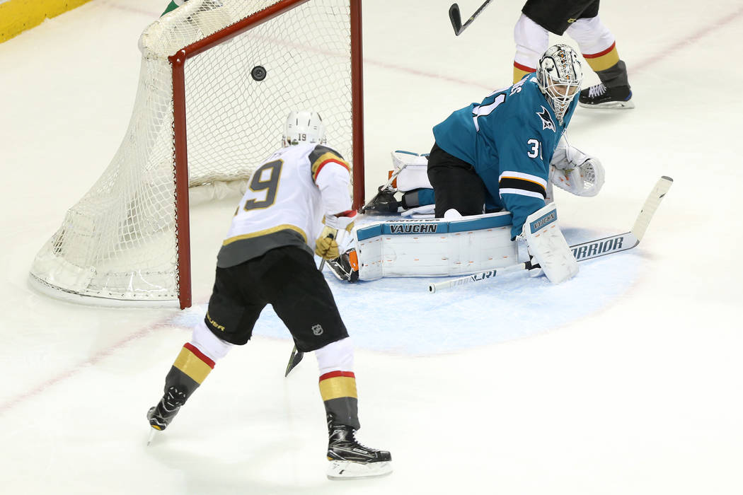 Vegas Golden Knights right wing Reilly Smith (19) shoots for a score against the San Jose Sharks during the second period in Game 3 of an NHL hockey second-round playoff series at the SAP Center i ...