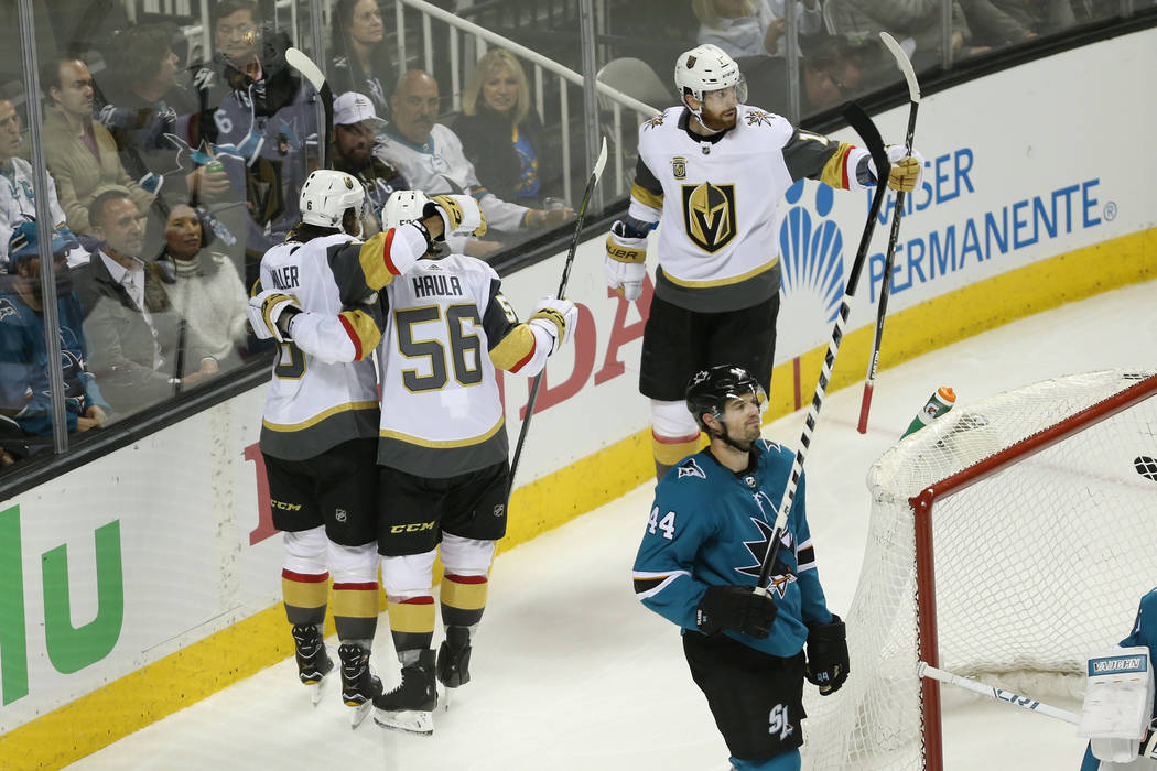 Vegas Golden Knights celebrates a goal by defenseman Colin Miller (6) against the San Jose Sharks during the second period in Game 3 of an NHL hockey second-round playoff series at the SAP Center ...