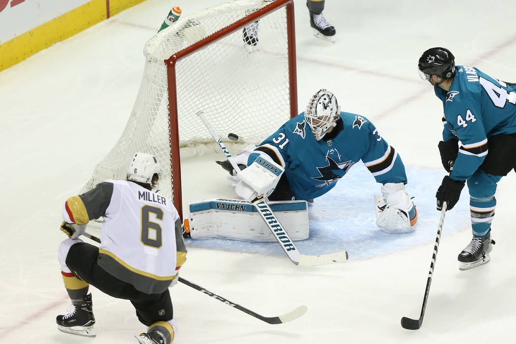 Vegas Golden Knights defenseman Colin Miller (6) shoots for a score against the San Jose Sharks during the second period in Game 3 of an NHL hockey second-round playoff series at the SAP Center in ...
