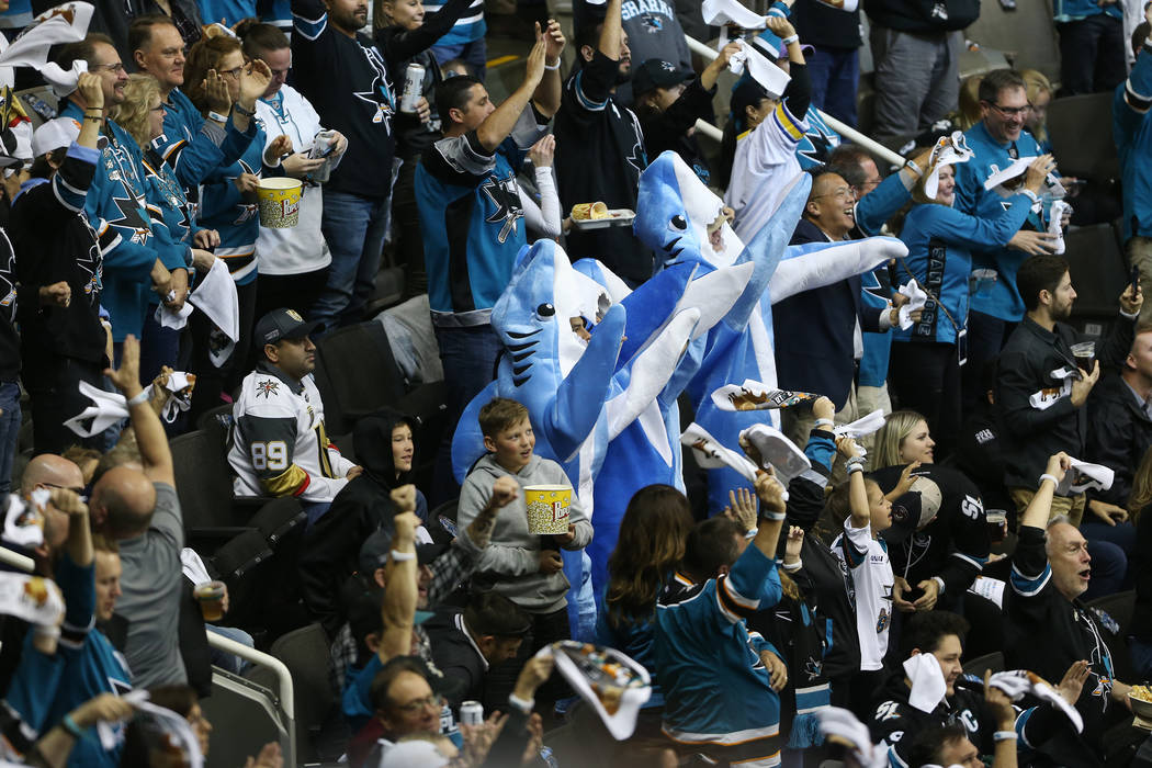 Fans celebrate a score by San Jose Sharks right wing Timo Meier (28) against the Vegas Golden Knights during the second period in Game 3 of an NHL hockey second-round playoff series at the SAP Cen ...