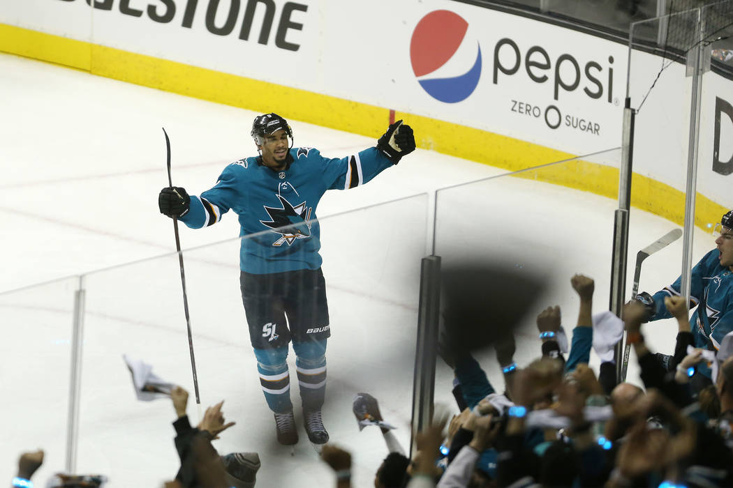 San Jose Sharks right wing Timo Meier (28) celebrates a score against the Vegas Golden Knights during the second period in Game 3 of an NHL hockey second-round playoff series at the SAP Center in ...