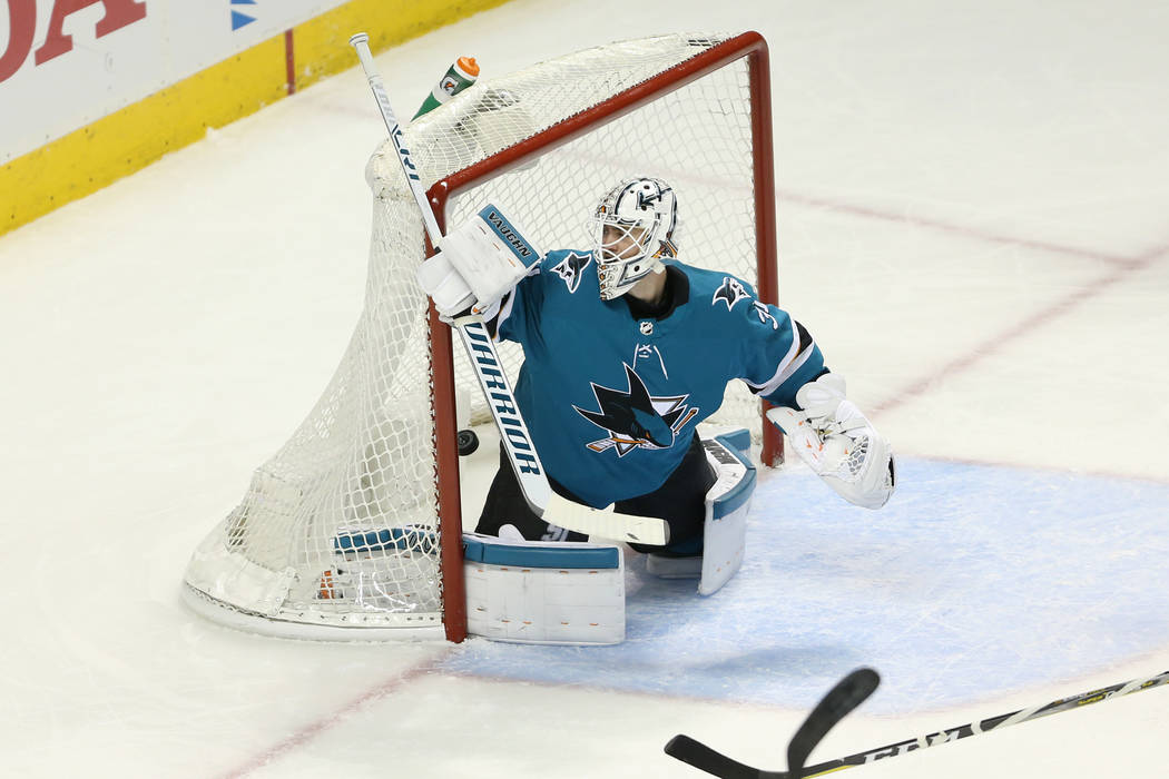 San Jose Sharks goaltender Martin Jones (31) sees a shot by Vegas Golden Knights center Jonathan Marchessault (81) score during the second period in Game 3 of an NHL hockey second-round playoff se ...