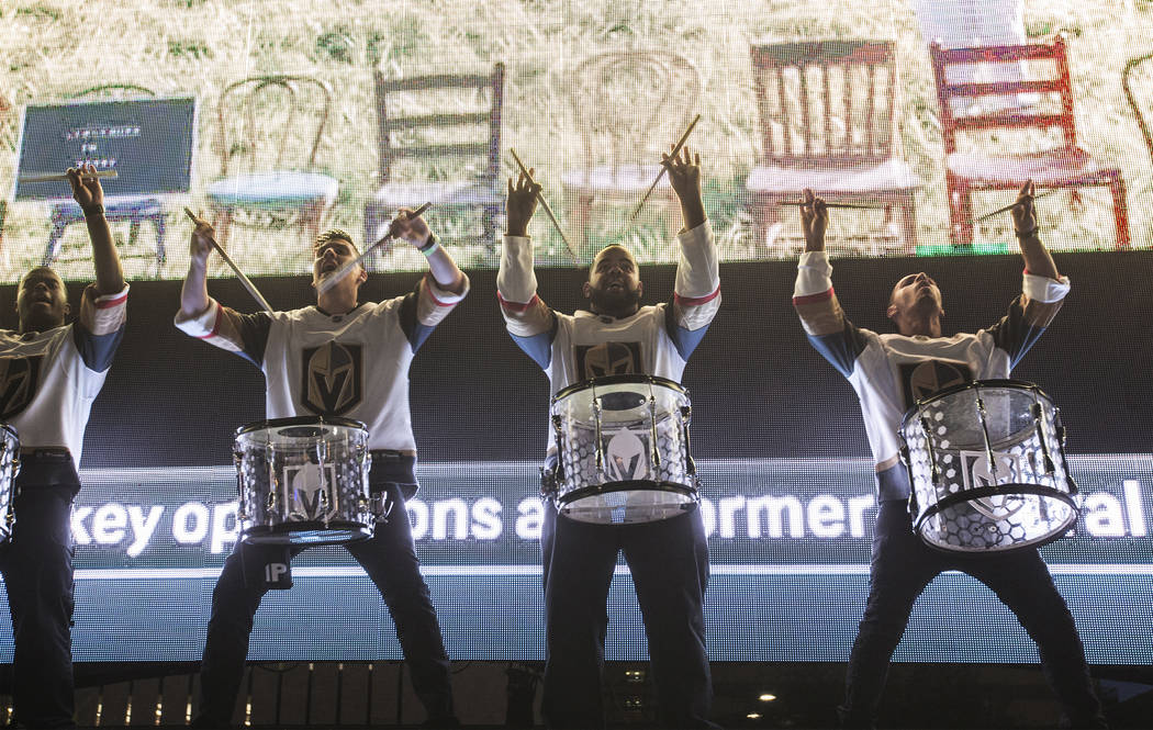 The Knightline drummers perform during game three of the Golden Knights playoff series with the San Jose Sharks on Monday, April 30, 2018, at Downtown Las Vegas Events Center, in Las Vegas. Benjam ...