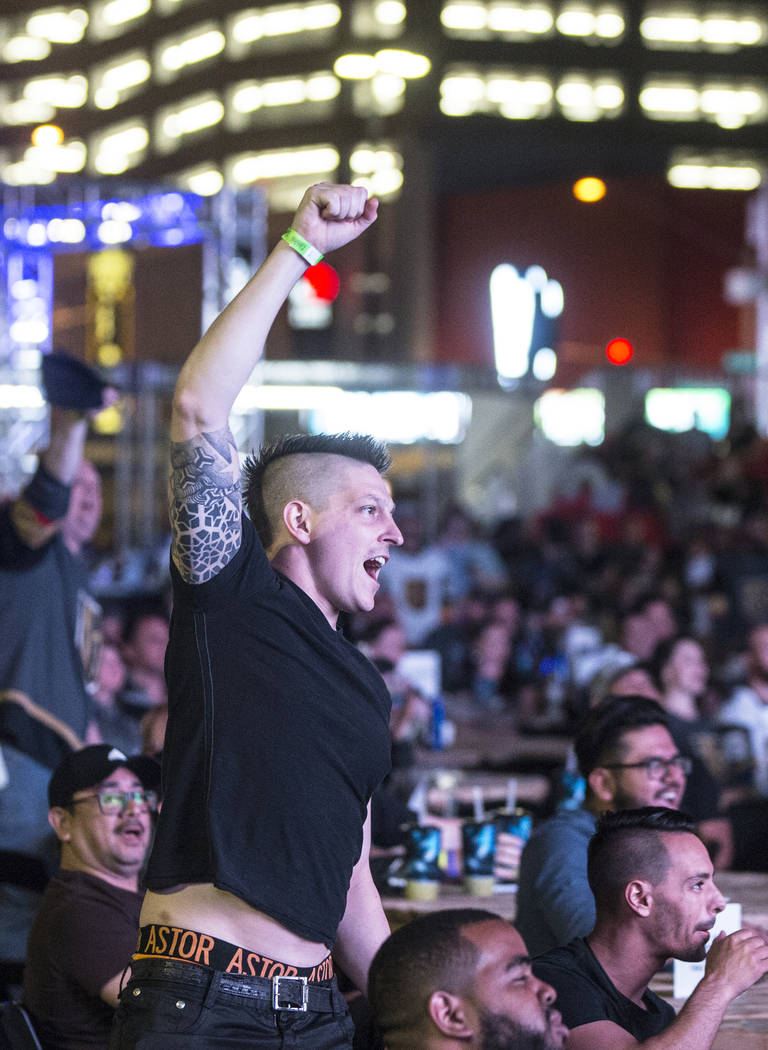 Billy Kesner pumps up fans at a watch party during game three of the Golden Knights playoff series with the San Jose Sharks on Monday, April 30, 2018, at Downtown Las Vegas Events Center, in Las V ...