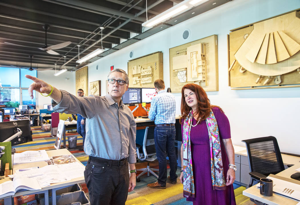 Henderson Mayor Debra March, right, and TSK president Windom Kimsey tour Kimsey's architecture firm on Monday, Aug 14, 2017, at TSK offices, in Henderson. Benjamin Hager Las Vegas Review-Journal @ ...