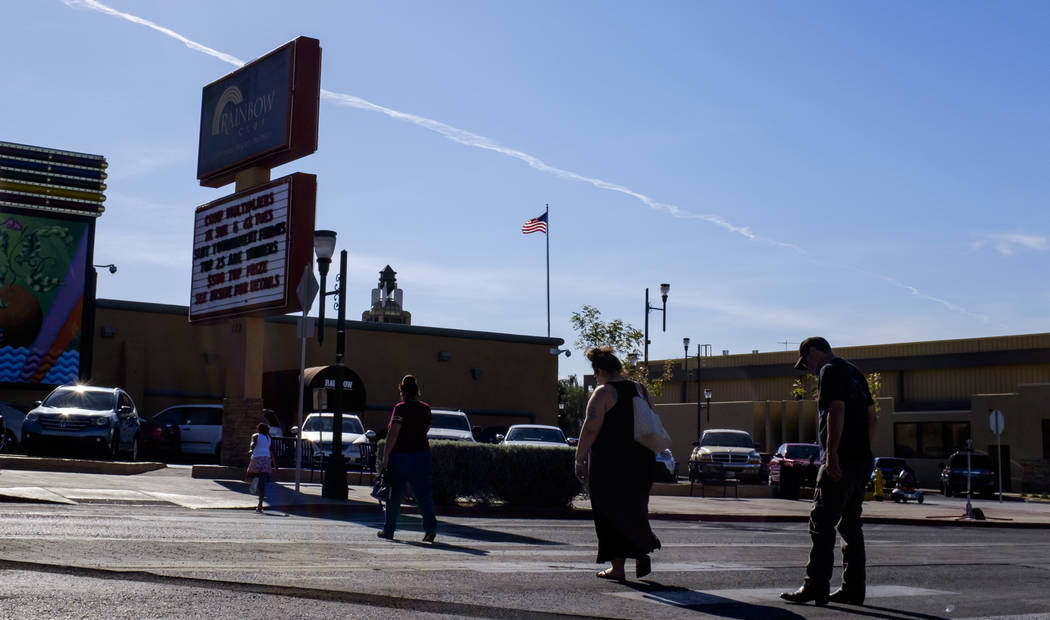 People cross the street near the Rainbow Club on Water Street in Henderson on Friday, March 30, 2018.  Patrick Connolly Las Vegas Review-Journal @PConnPie