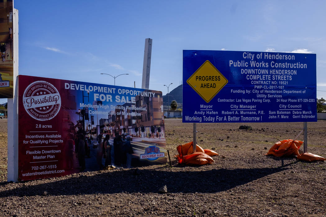 Signs advertise upcoming developments and opportunities on Water Street in Henderson on Friday, March 30, 2018.  Patrick Connolly Las Vegas Review-Journal @PConnPie