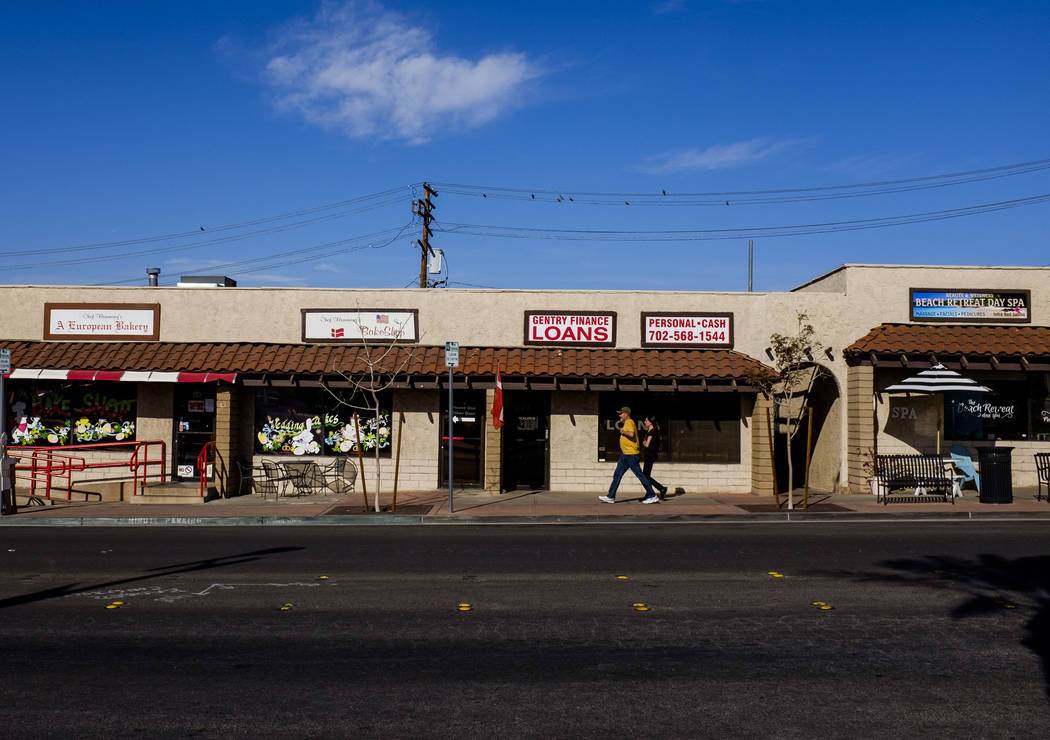 People walk past shops on Water Street in Henderson on Friday, March 30, 2018.  Patrick Connolly Las Vegas Review-Journal @PConnPie