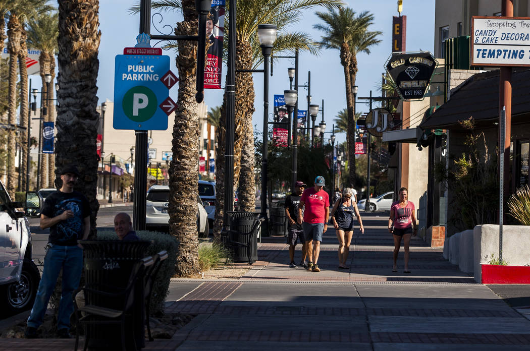 People walk down Water Street near Lovelady Brewing Co. in Henderson on Friday, March 30, 2018.  Patrick Connolly Las Vegas Review-Journal @PConnPie