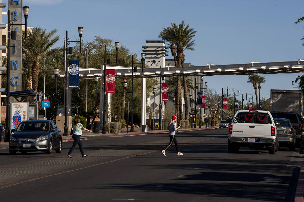 People cross Water Street near the Henderson Convention Center in Henderson on Friday, March 30, 2018.  Patrick Connolly Las Vegas Review-Journal @PConnPie