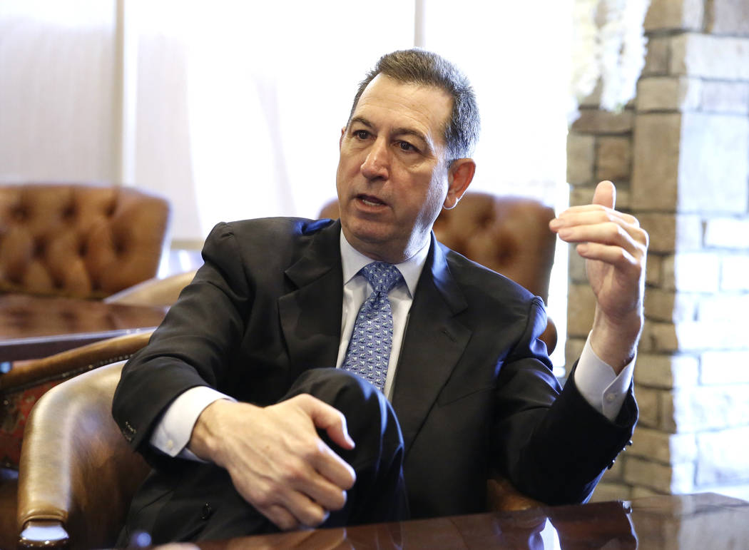 Joseph Otting, U.S. comptroller of the currency, speaks during an interview with the Las Vegas Review-Journal on Thursday, April 12, 2018, in Las Vegas. Bizuayehu Tesfaye/Las Vegas Review-Journal ...