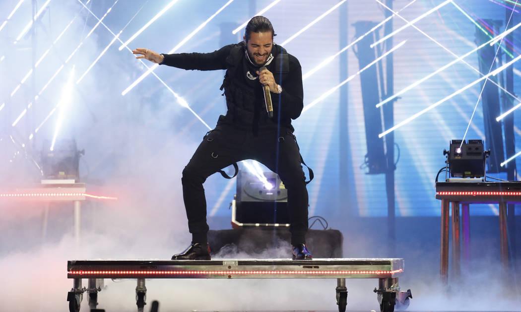"Maluma performs ""El Prestamo"" at the Billboard Latin Music Awards at the Mandalay Bay Events Center on Thursday, April 26, 2018, in Las Vegas. (Photo by Eric Jamison/Invision/AP)"