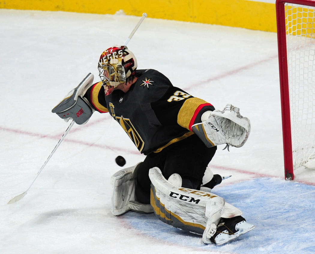 Vegas Golden Knights goaltender Maxime Lagace gives up a goal against the Winnipeg Jets in the first period of their NHL hockey game at T-Mobile Arena in Las Vegas Friday November 10, 2017. Josh H ...